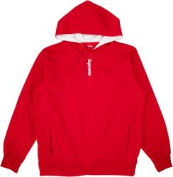 Supreme Red Placket Logo Hoodie