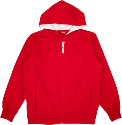Supreme Red Placket Logo Hoodie