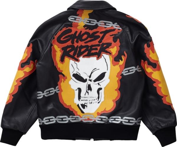 Supreme Skull Black Leather Jacket