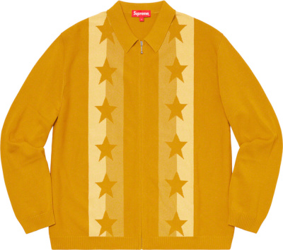 Supreme Star Jacquard Yellow Zip Cardigan