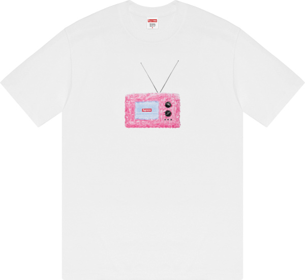 Supreme White And Pink Fuzzy Tv Logo T Shirt