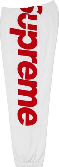 Supreme White And Red Big Logo Sweatpants