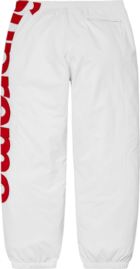 Supreme White And Red Side Logo Trackpants