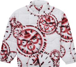 Supreme White Red Watch Print Puffer Jacket