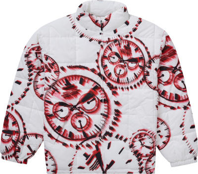 Supreme White Red Watch Print Puffer Jacket