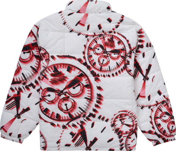 Supreme White Red Watches Puffer Jacket