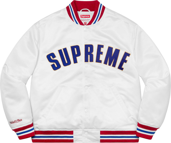 Supreme White With Red And Blue Trim Varsity Jacket