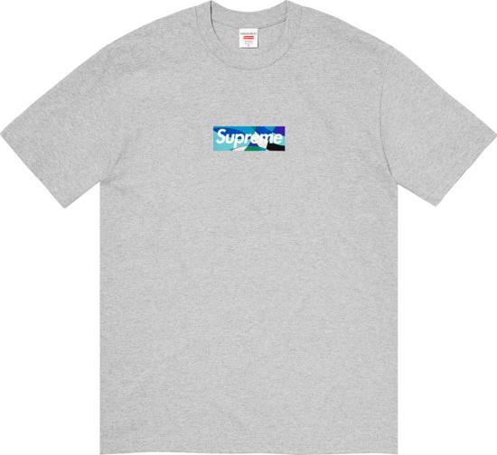 Supreme X Emilio Pucci Grey And Blue Box Logo Print T Shirt