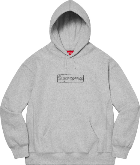 Supreme X Kaws Heathered Grey Chalk Logo Print Hoodie