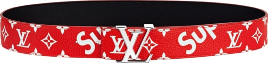 Supreme X Louis Vuitton Red Leather Belt