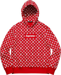 Supreme X Louis Vuitton Red Monogram Box Logo Hoodie