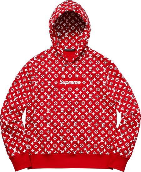 Supreme X Louis Vuitton Red Monogram Box Logo Hoodie