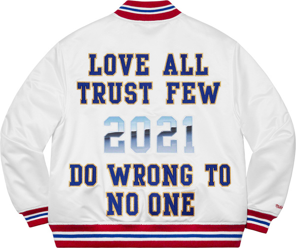 Supreme X Mitchell Ness White Love All Trust Few Do Wrong To No One Jacket