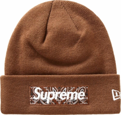 Supreme X New Era Brown Bandana Box Logo Beanie