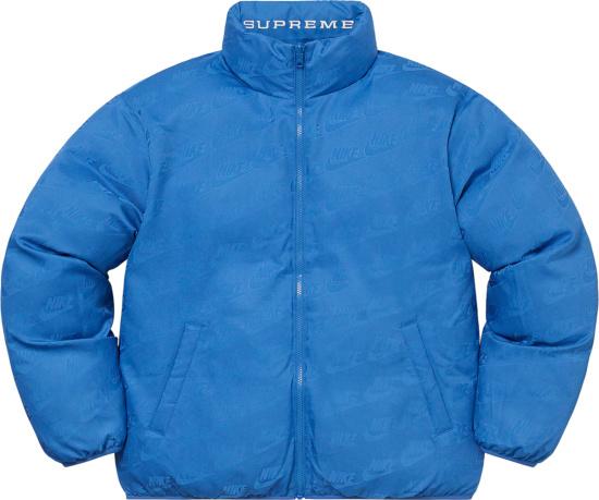 Supreme X Nike Light Blue Allover Reversible Puffer Jacket