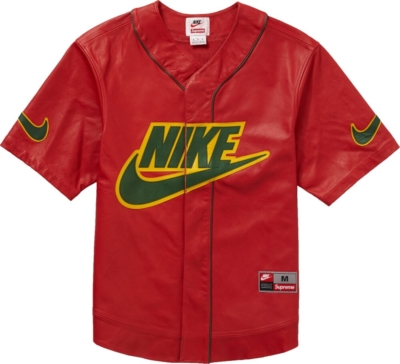 Supreme X Nike Red Leather Baseball Jersey