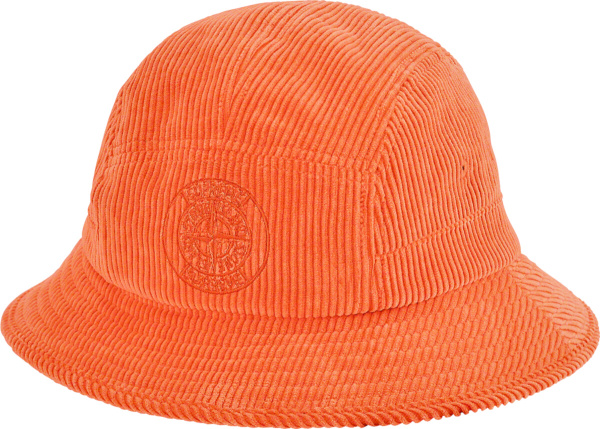 Supreme X Stone Island Orange Corduroy Bucket Hat
