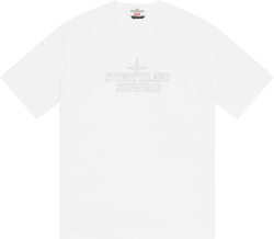 Supreme X Stone Island White Logo Embroidered T Shirt