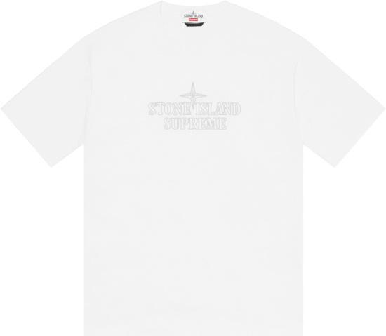 Supreme X Stone Island White Logo Embroidered T Shirt