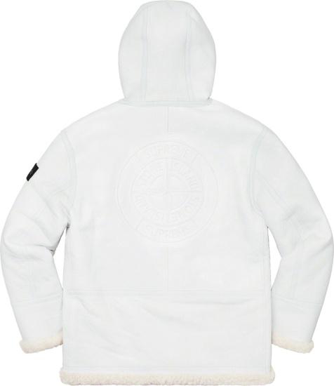 Supreme X Stone Island White Shearling Coat