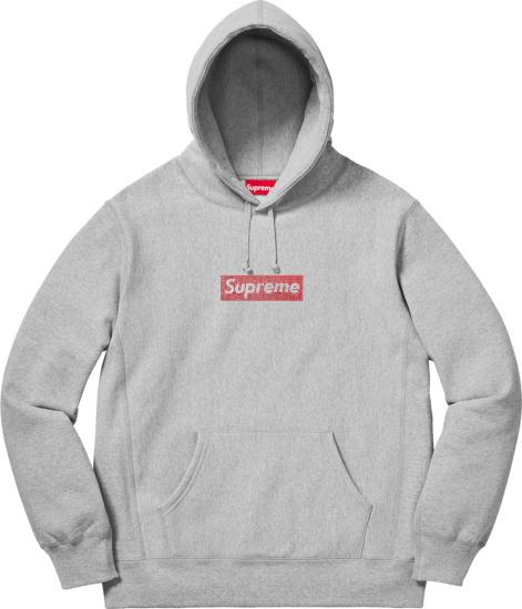 Supreme X Swarovski Grey And Red Crystal Box Logo Hoodie