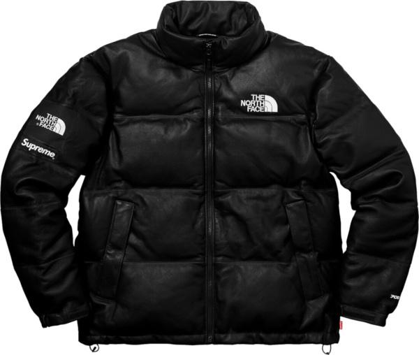 Supreme X The North Face Black Leather Nuptse Jacket