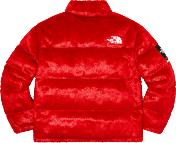 Supreme X The North Face Red Faux Fur Nuptse Puffer Jacket