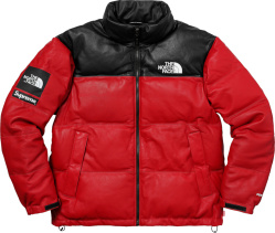 Supreme X The North Face Red Leather Puffer Jacket
