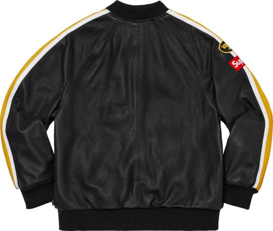 Supreme X Vanson Black Leather Yellow Stripe Jacket