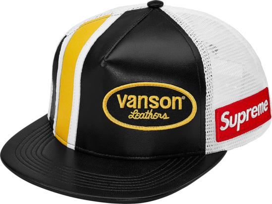 Supreme X Vanson Leather Black Leather Trucker Hat