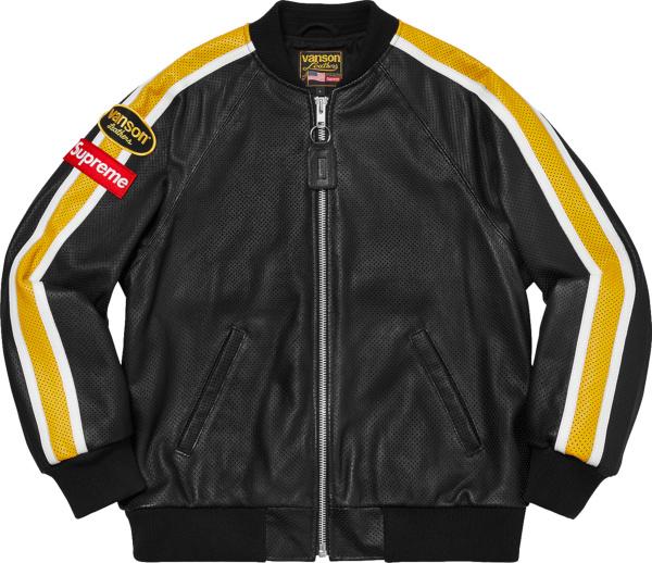 Supreme X Vanson Leather Black Perforated Bomber Jacket