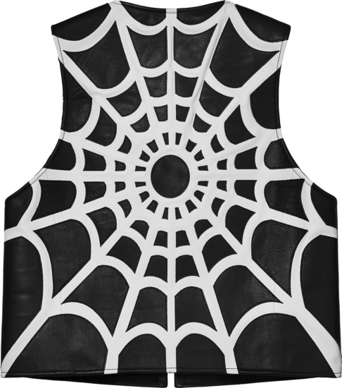 Supreme X Vanson Leathers Black Leather Spider Web Vest