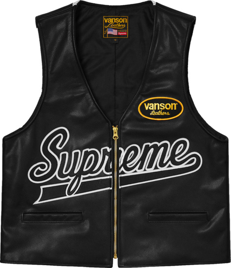 Supreme X Vanson Leathers Black Leather Vest