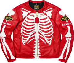 Supreme X Vanson Red Leather Skeleton Jacket.jpga