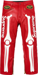 Supreme X Vanson Red Leather Skeleton Pants