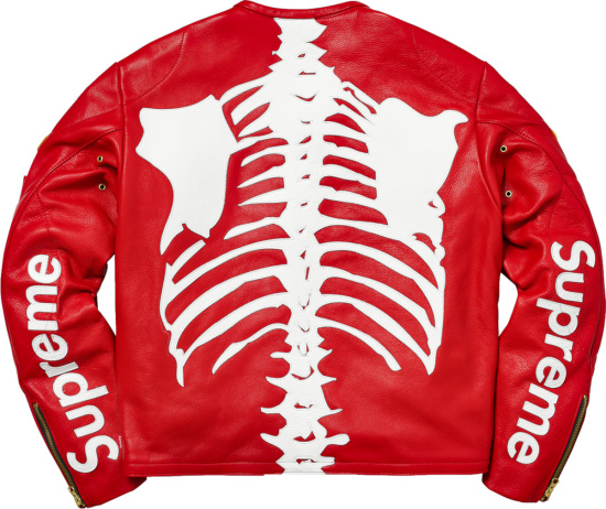 Supreme X Vanson Red White Bones Jacket
