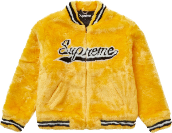 Supreme Yellow Faux Fur Bomber Jacket