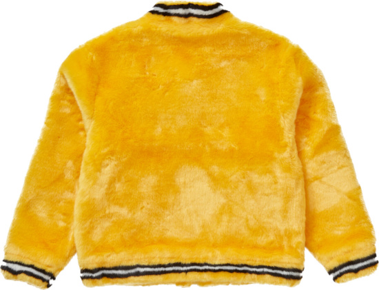 Supreme Yellow Faux Fur Varsity Jacket Ss20