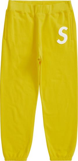 Supreme Yellow S Logo Sweatpants
