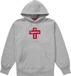 Surpeme Grey Cross Box Logo Hoodie