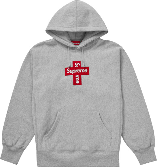 Surpeme Grey Cross Box Logo Hoodie