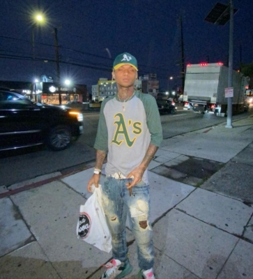 Swae Lee Leave The Studio In Oakland Athletics Gear And Off White Sneakers