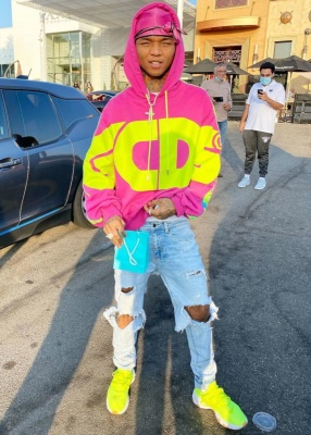 Swae Lee Shops At Tiffanys In A Gcds Hoodie And Nike Volt React Presto Sneakers