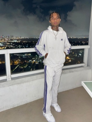 Swae Lee Wearing A Needle White Hoodie And Trackpants With Nike X Supreme Sneakers