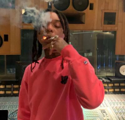 Swae Lee Wearing A Pink Undefeated Crewneck Sweatshirt In The Studio