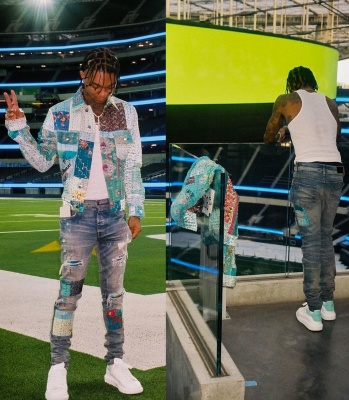Swae Lee Wearing An Amiri Vintage Quilt Jacket And Jeans With Alexander Mcqueen Sneakers
