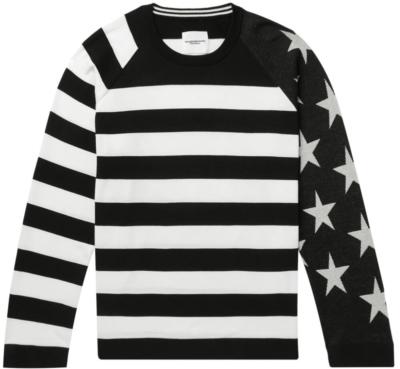 Takahiro Miyashihta Stars And Striped Black And White Sweater