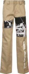 Takahiro Miyashita X Dickies Takahira Miyashita Khaki Pants With White Print And Allover Patches