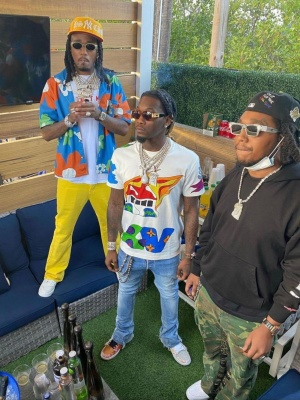 Takeoff Wearing A Gallery Dept Camo Pants With Louis Vuitton Sunglasses And A Richard Mille Watch