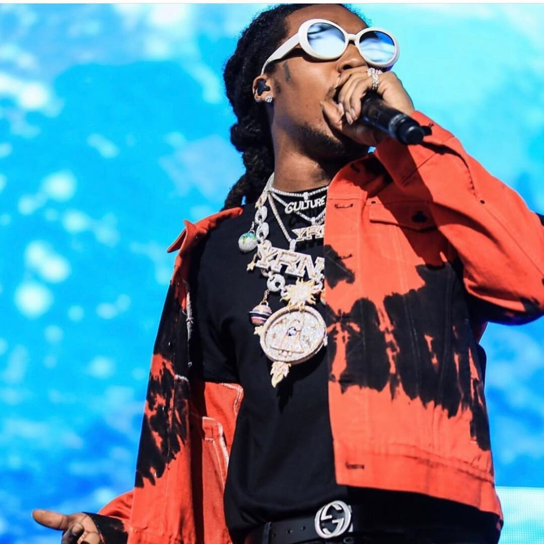 Takeoff Wearing A Red Ovadia And Sons Jacket Gucci Belt And Saint Laurent Polo Shirt